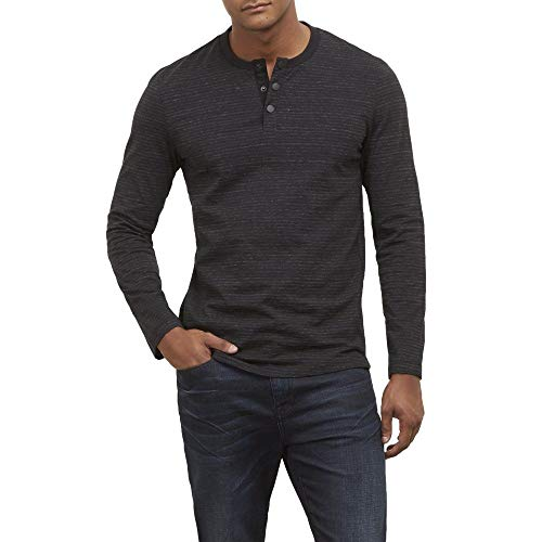 New York Matte Jersey - Kenneth Cole New York Long Sleeve Henley in Striped Heather JERS - Men's - Black