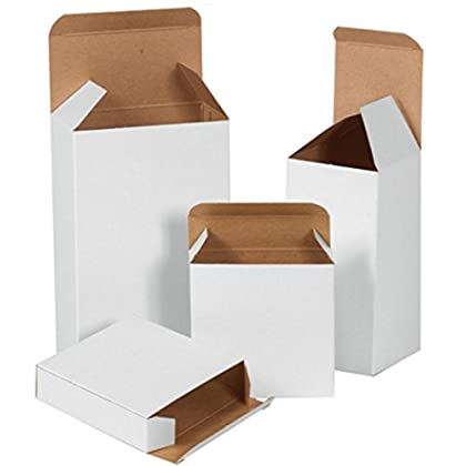 Image of Bauxko 1 1/2' x 1 1/4' x 2' White Reverse Tuck Folding Cartons, Case of 1000 (xRT2SCW-Case) Box Mailers