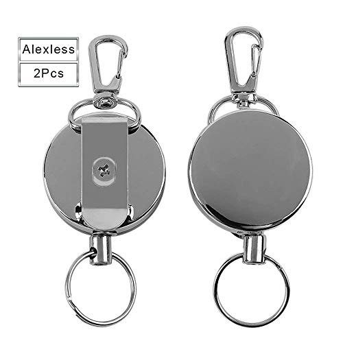 - 2 Pcs Metal Retractable Badge Reel Badge Holder Reel Clip with Stainless Steel Cord for Heavy ID Card Keychain