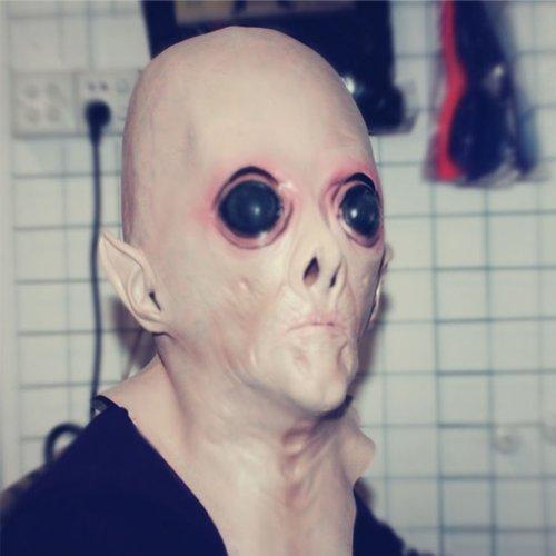 [SHEENROAD Alien UFO The Extra Terrestrial ET Latex Mask Halloween Party Toy] (Latex Alien Mask)