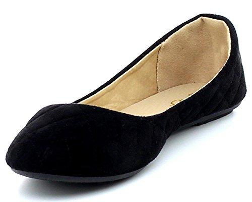 Refresh Gewatteerde Ronde Schoenen Balletschoentjes Dames Zwart