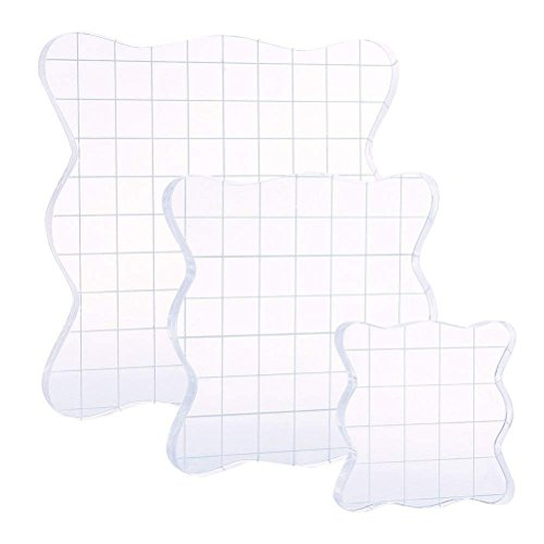 (DECORA Acrylic Clear Rubber Stamping Blocks Set with Grid Package of 3 )