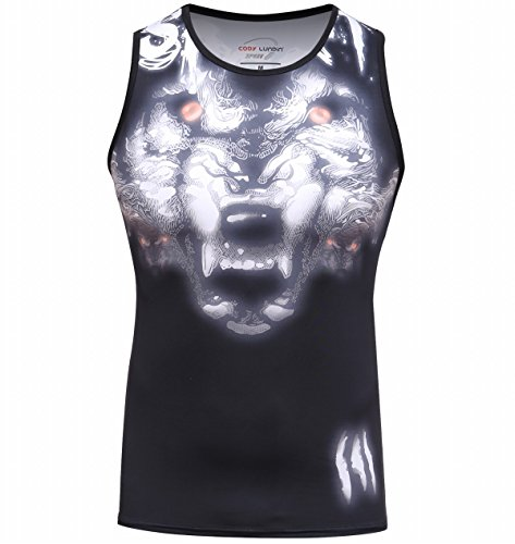 - Red Plume Men's 3D Print Tank Tops Work Out Sleeveless Summer Casual Compressiom Shirt Wolf Head Totem Printing Sport Vest (XL)