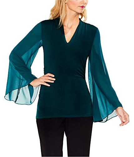 Vince Camuto Womens Chiffon Bell Sleeve Side Ruched Top Dark Peacock SM One Size (Vince Tee Jersey Sheer)