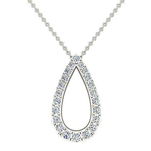 0.34 ct Teardrop Shape Diamond Necklace Pendant 14K White Gold (P0197) (Diamond Drop 18k White Gold Necklace)