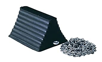 """Jackson Safety 17168 Rubber Wheel Chock with 12' Chain Attached, 10"""" Length x 6"""" Height x 8"""" Depth"""