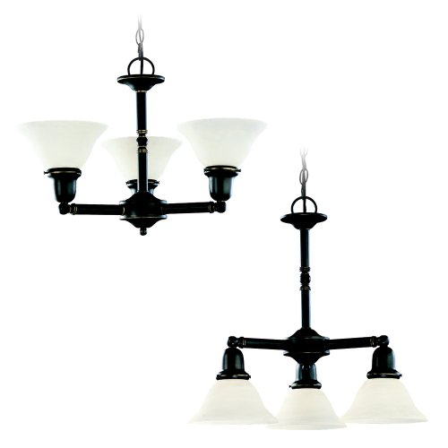 782 Sussex Single Light - Sea Gull Lighting 31060-782 Three Light Chandelier, Heirloom Bronze