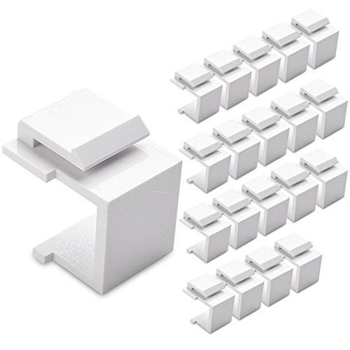 Cable Matters (20-Pack) Blank Keystone Jack Inserts in White (Double Gang Coax Wall Plate)