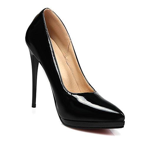 Pompe Noir Noir Chaussures Talons Femmes Hauts Dames Toe Rouge De Pointue Mode Partie Sexy JIEEME Court Stiletto wASxqgn
