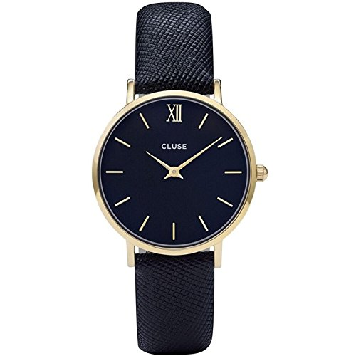 Cluse Women's Minuit 33mm Blue Leather Band Metal Case Quartz Black Dial Analog Watch CL30014 by CLUSE