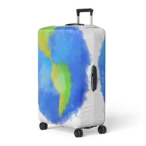 Pinbeam Luggage Cover Blue Colorful Earth Watercolor Swashes Spots and Splashes Travel Suitcase Cover Protector Baggage Case Fits 22-24 inches