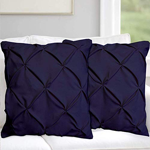 (Pinch Plated / Pintuck Navy Blue Pillow Shams Set of 2 - Luxury 600 Thread Count 100% Egyptian Cotton Cushion Cover Euro Size Decorative Pillow Cover Tailored European Pillow Sham Euro 26'' x 26'')