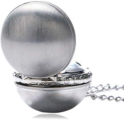 Élégante montre de poche à quartz en argent pour femme, en forme de boule, montre de poche pour femme, adorable collier chaîne à quartz pendentif pour femme.