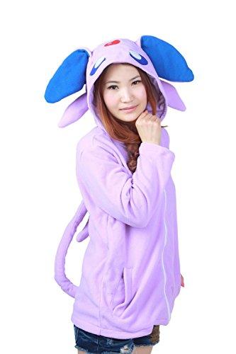 Ztl Unisex Cosplay Costumes Plush Animal Pajamas Onesie Hoodie Suits Jacket Eevee Purple L -