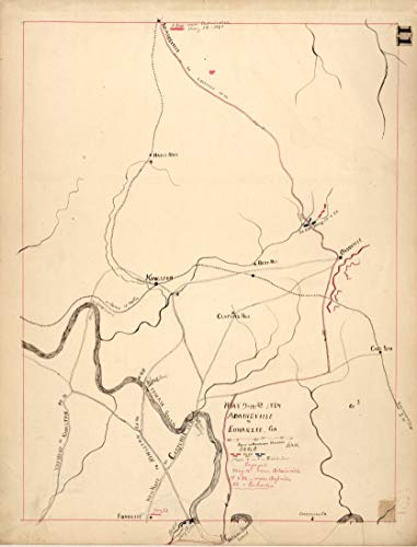 """Historic Prints HP 18"""" x 24"""" 1864 Map of May 17th to 23th Adairsville to Euharlee Georgia Route of Harrison's Brigade"""