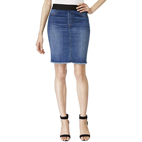 Karen Kane Womens Stonewash Frayed Hem Denim Skirt Denim 6