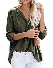 Ehpow Damen Langarm V-Ausschnitt Bluse Einfarbig Casual Button Down Oberteile Shirts(Medium,Grau)