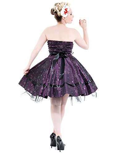 SILK Purple Vestito viola FLOWERED Vestito FLOWERED fOfwnpXa