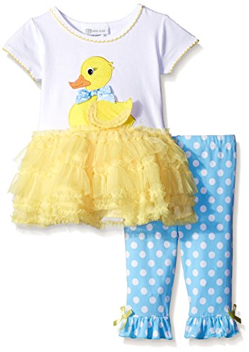 Girl Ducky (Bonnie Jean Girls' Ducky Appliqued Playwear Set, Yellow, 4T)