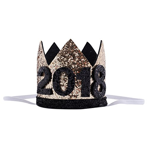 Floral Fall 20th 21st 30th Birthday Crown Golden Adult Thirty Flirty birthday Party Hat (Black gold 2018)