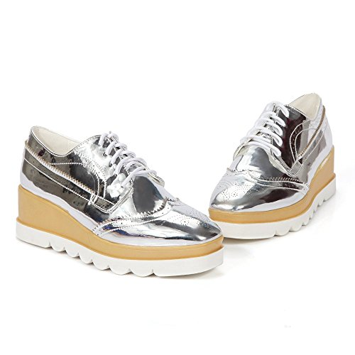 Zapatos planos de la manera del color zapatillas de deporte con cordones de las mujeres Kakaka Silver