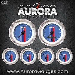 UPC 802269046993, Aurora Instruments 1526 Vintage Autobahn Blue SAE 6-Gauge Set (Black Modern Needles, Chrome Trim Rings, Style Kit Installed)