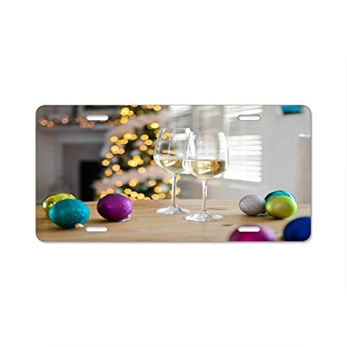 (YEX Abstract Two Champagne Glasses Near Baubles License Plate Frame Car Licence Plate Covers Auto Tag Holder 6