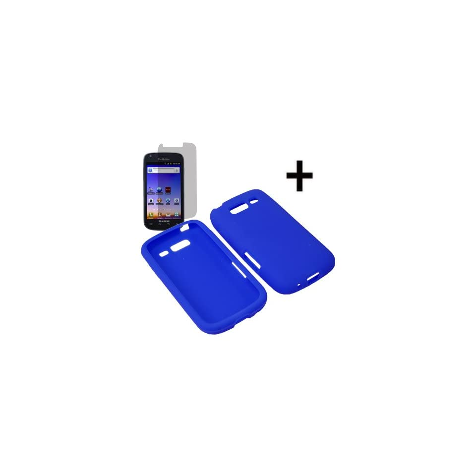 BC Silicone Sleeve Gel Cover Skin Case for T Mobile Samsung Galaxy S Blaze 4G T769+ LCD Guard Blue