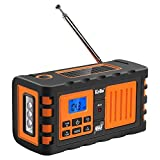 Kello TK-669G Emergency Solar Hand Crank Weather Alert Radio AM/FM/SW/All Hazard Public Alert NOAA Certified Radio with LED Flashlight, Cell Phone Charger and Alarm Clock (Orange)
