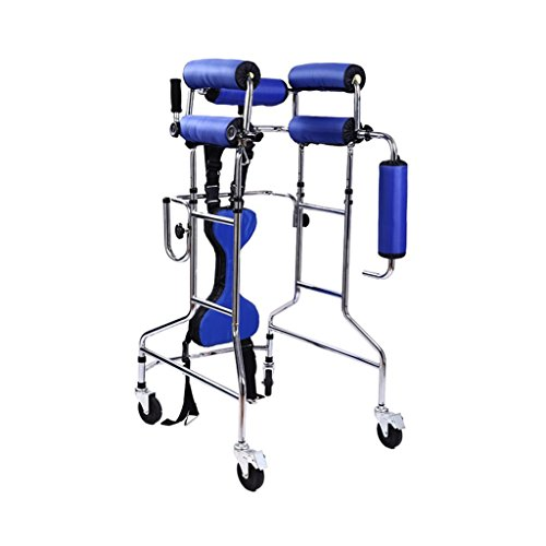 Walkers Lxn Standing Walk Stand Walk Aid/Stand Frame with Seat Wheel Rehabilitation Device Folding Height Adjustable Lower Limb Disabled Skid Stand Children Stand Frame