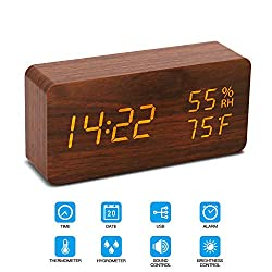 Digital Alarm Clock, Wood LED Adjustable Brightness Voice Control Desk Wooden Alarm Clock with Day/Date/Temperature and Humidity USB/Battery Powered for Home, Office, Kids