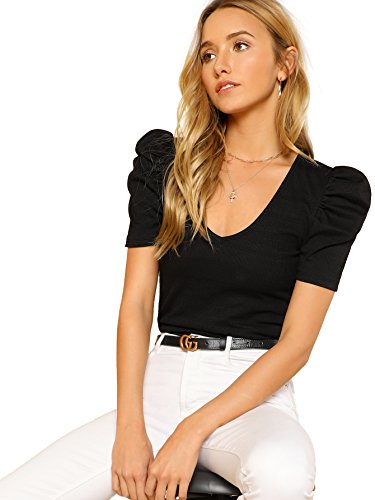 Romwe Women's Elegant Short Puff Sleeve Knit Summer V-Neck T-Shirt Tops Black Small