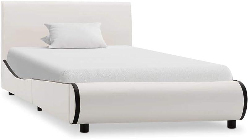vidaXL Estructura de Cama Cuero Sintético Somier Mobiliario Elegante Clásica Moderna Práctica Duradera Resistente Funcional Útil Blanca 100x200cm
