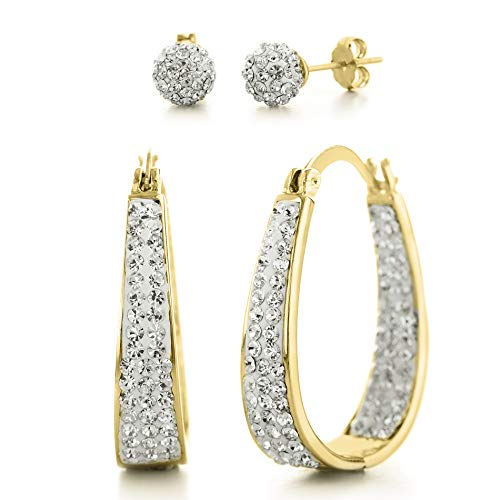 Devin Rose Oval Inside Outside Hoop and Ball Stud Earrings for Women made With Swarovski Crystals in Yellow Gold Plated Brass (Yellow Set)