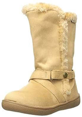 Western Chief Girls' Plush Fashon Microfiber Bootie Pull-on Boot, Maggie Tan, 1 M US Little Kid
