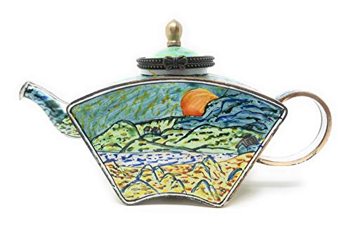 Kelvin Chen Van Gogh's Rising Moon Enameled Miniature Teapot with Hinged Lid, 5.5 Inches Long