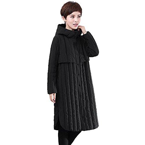 women down coats hooded long sleeve pocket buttons lightweight warm windproof thicker padded parkas outwear puffer jacket Black