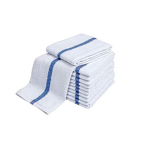 28oz Bar Mop Towels 16x19, 100% Cotton, Commercial Grade Professional Kitchen/Restaurant BarMop Towels (Blue Stripe-120 Pack)