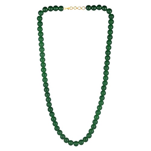 (Efulgenz Handcrafted Green Crystal/Glass Stone Classic Round Beaded Strand Necklace Fashion Accessories Women Girls )