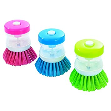 Assorted Color Cleaning Scrubber 3 Pack Taoya Kitchen Palm Brush Cleaner with soap Dispenser refilled for Dishes,Cooking Utensil Pot pan Sink Plastic Nylon bristles