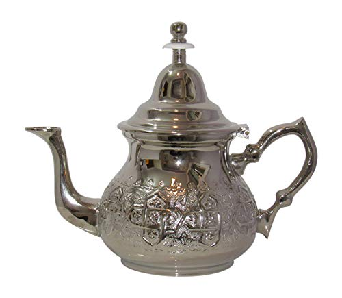 Imported Handmade Moroccan Teapot with Built In Tea Infuser Filter, Bring Home a Beautifully Functional Near East Tradition, 34 Ounces (1 Liter) ()