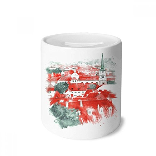 DIYthinker Red Roof Russia Building Painting Money Box Saving Banks Ceramic Coin Case Kids ()