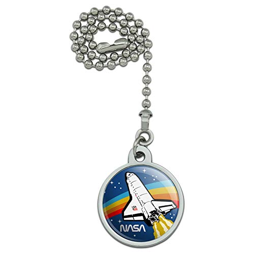 GRAPHICS & MORE NASA Logo Over Space Shuttle with Rainbow Ceiling Fan and Light Pull Chain ()