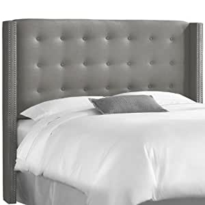 skyline furniture linen queen nail button wingback headboard gray tufted. Black Bedroom Furniture Sets. Home Design Ideas