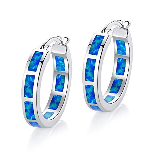 18K White Gold Plated Blue Opal Huggie Hoop Hypoallergenic Earrings for Women with Sensitive Ears Jewelry -