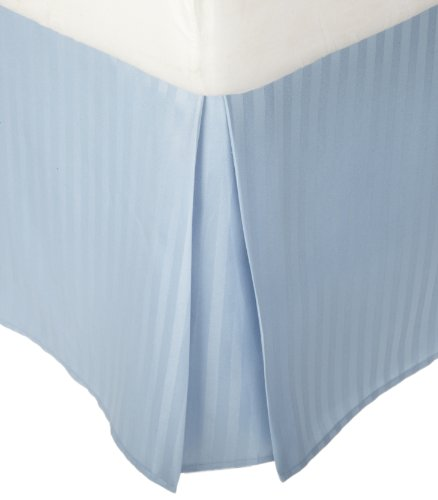 Superior 1500 Series 100% Microfiber Pleated Queen Bed Skirt Stripe, Light Blue - 15 Inch Drop and 100% (Bedskirt Light)