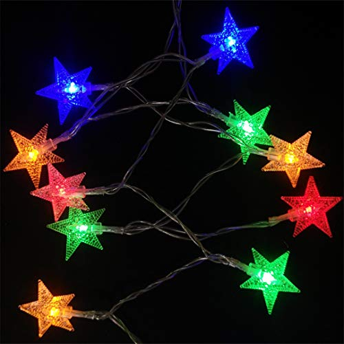 BGFHDSD 2M/3M/4M/5M LED Lucky Star Christmas String Light Battery Operated Holiday Wedding Xmas Party Garden Decoration Lights Red 5M 50LEDs by BGFHDSD