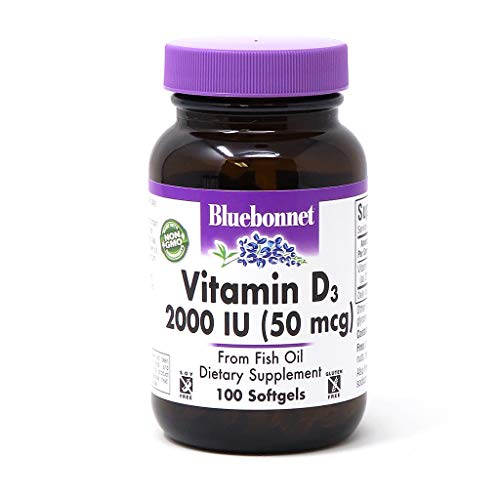 BlueBonnet Vitamin D3 2000 IU Vegetable Capsules, 100 Count (Pack of 1)