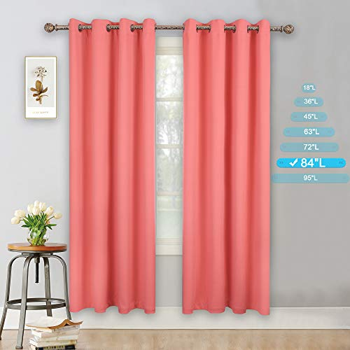 YGO Coral Blackout Curtains for Bedroom 2 Panels Set Room Darkening Drapes Thermal Insulated Solid Grommets Window Treatment Pair for Nursery, Living Room,W52xL84 inch ()