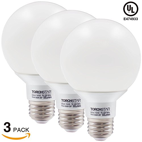 Torchstar Dimmable G25 Globe Led Bulb 7w 60w Equiv 5000k Daylight For Pendant Bathroom Dressing Room Decorative Lighting Damp Location Available